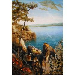 Картина Горы у озера