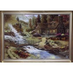 Картина Будиночок біля водоспаду