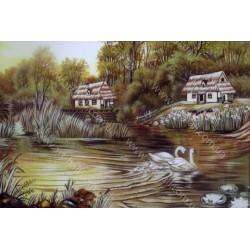 Картина Лебеди на пруду из янтрая