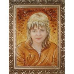 Картина-портрет з бурштину
