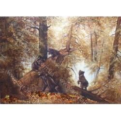 Картина Бурые медведи в лесу