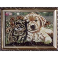 Картина Дружба котёнка и щенка