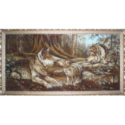 Картина Волки с волчёнком