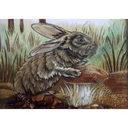 Картина заяц на грибу