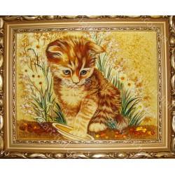 Картина котёнка с тарелкой