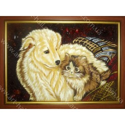Картина Собака и котёнок