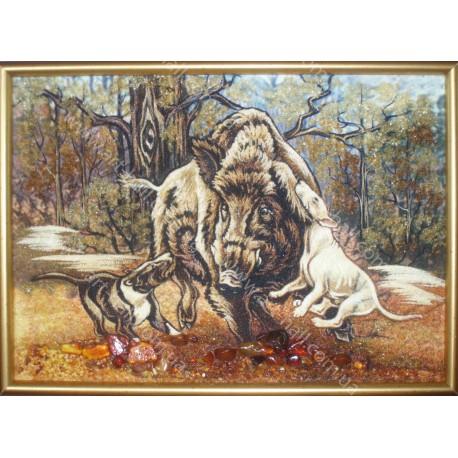 Картина Дикий кабан и охотничьи собаки