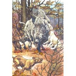 Картина Дикий кабан на охоте
