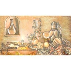 Картина Натюрморт Вино и фрукты