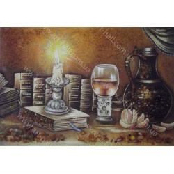 Картина Натюрморт Свеча и вино