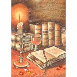 Картина Натюрморт свеча и книги