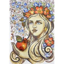 Картина Панно з бурштину Українка