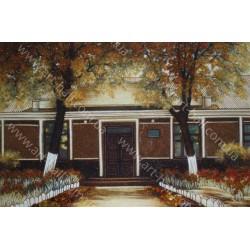 Картина домика из янтаря