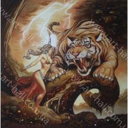 Картина Девушка и тигр