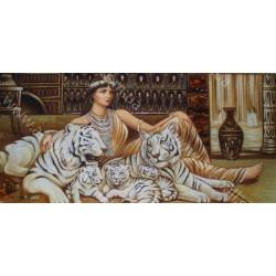 Картина Девушка с белыми тиграми