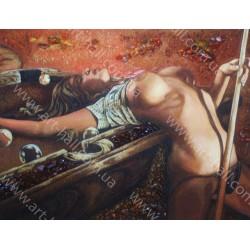 Картина Девушка и бильярд