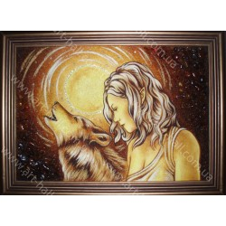Картина девушка и волчица