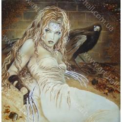 Картина Девушка и ворон