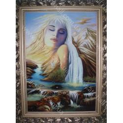 Картина девушка и горы
