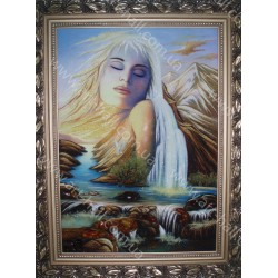 Картина дівчина і гори