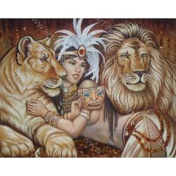 Картина дівчата і леви