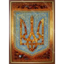 Герб України з бурштину