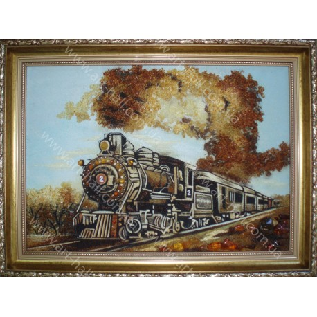 Картина паровоза из янтаря