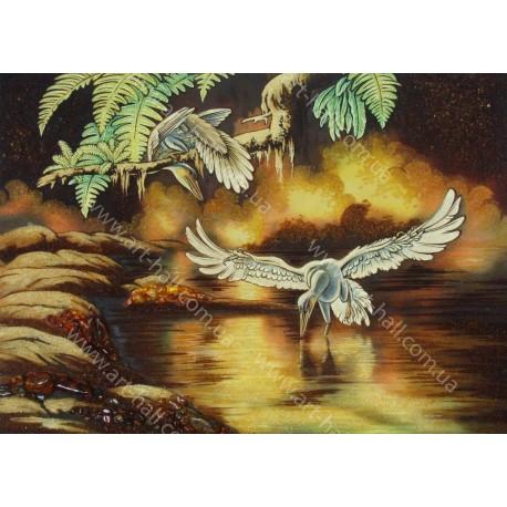 Картина Фантазия озера и пеликаны